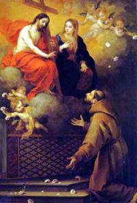 Święty Franciszek przed obliczem Chrystusa i Jego Matki