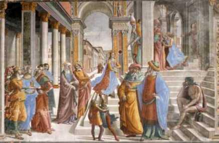 Ofiarowanie Maryi wświątyni - Domenico Ghirlandaio